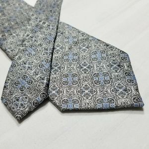 100% Silk STAFFORD Gray/Blue Geometric Tie ~3""